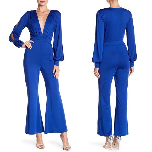 Favlux Cobalt Blue Split Sleeve Flare Jumpsuit